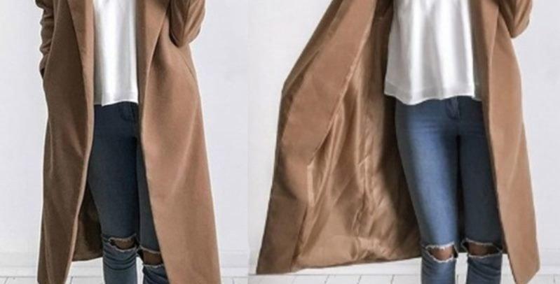 Gorgeous Khaki Lapel Trench Coat