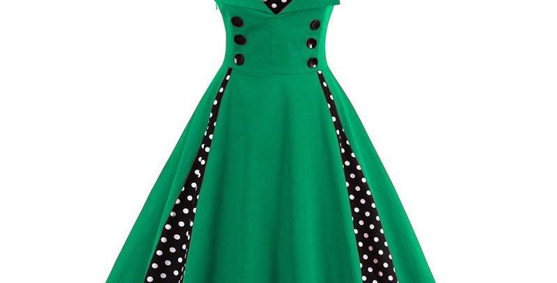 Green Polka Dot Vintage Retro Party Dress