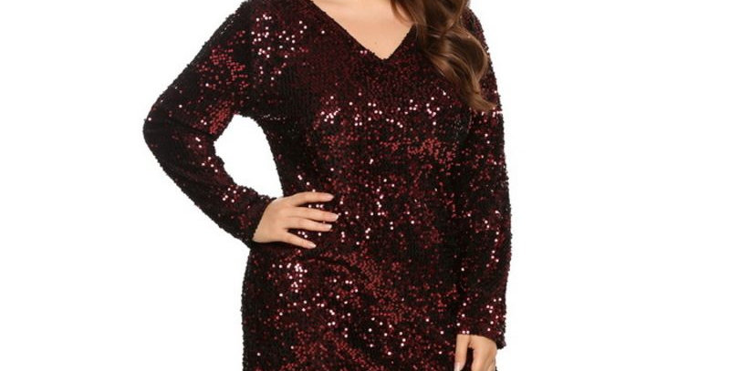 Red Sequin Bling Bling Bodycon Party Dress