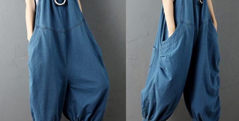 Sexy Blue Boho Denim  Baggy Jumpsuit