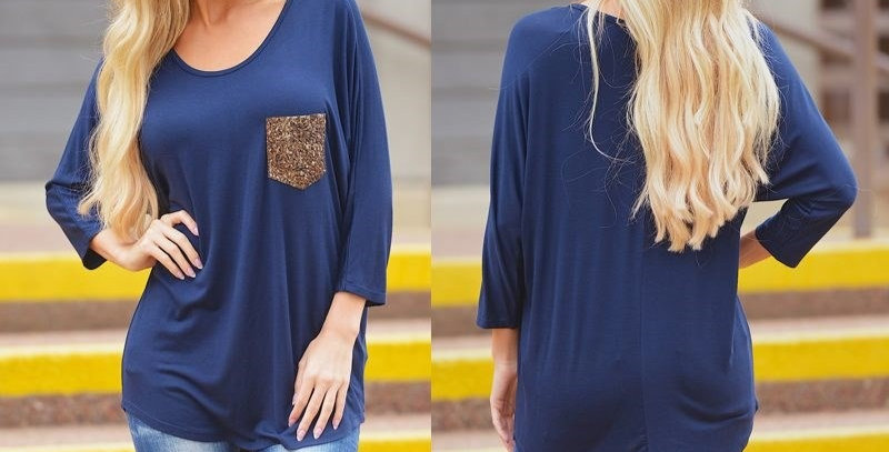 Blue Kimono Batwing Top with Gold Sequin Pocket