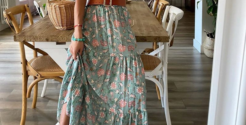 Green Boho Floral Print Ruffle Sleeveless Maxi Dress