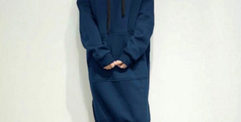 Dark Blue Oversized Fleece Long Hoodie Sweatshirt