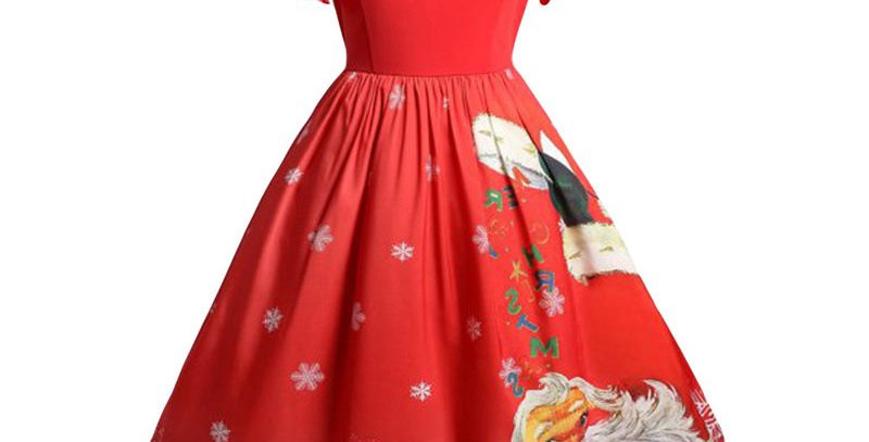 Red Rockabilly Christmas Theme Flared Midi Party Dress