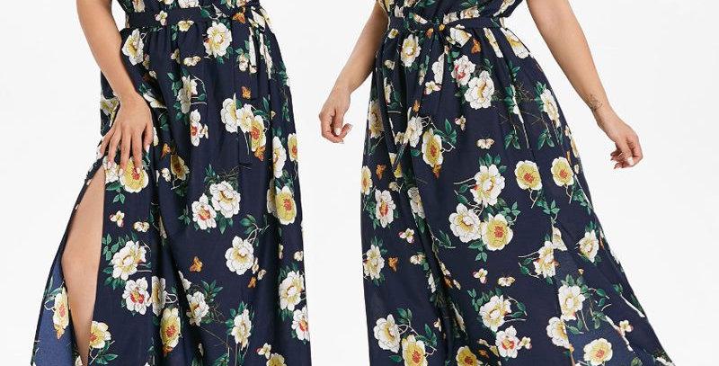 Blue Floral off Shoulder Summer Dress