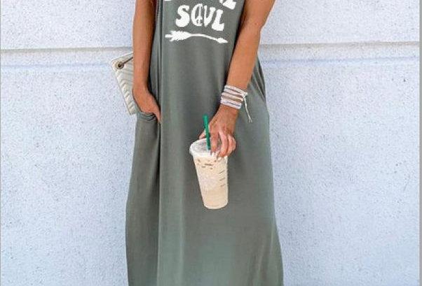 Boho Hippie Soul Sleeveless Pocket Dress