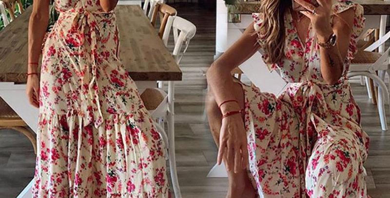 Beige Boho Floral Print V Neck Short Sleeve Maxi Dress