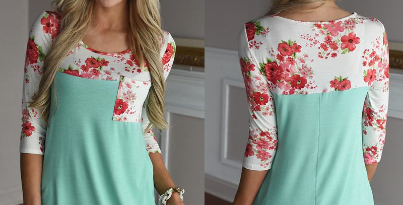 Mint Green Blossom Floral  Top