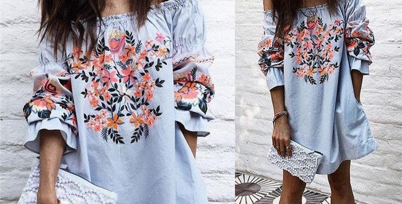 Off Shoulder Floral Print Boutique Mini Dress