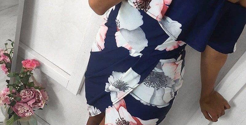 Blue Blossom Floral Off Shoulder Boutique Dress