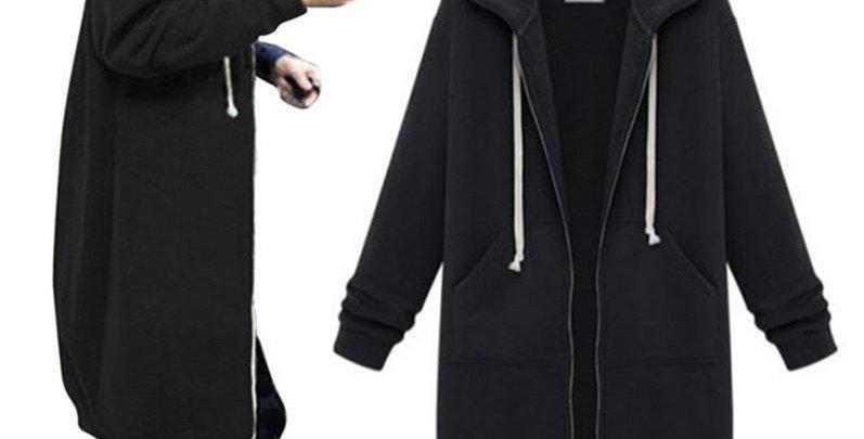 Black Zip Up Fleece Long Hoodie Sweatshirt