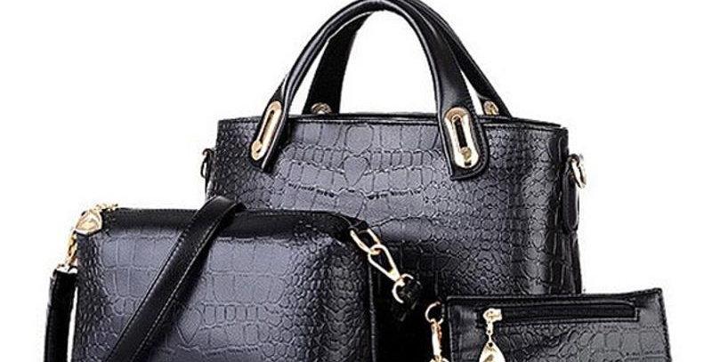 Black Handbag Shoulde Tote Bag + Clutch Wallet + Coin Purse COMBO