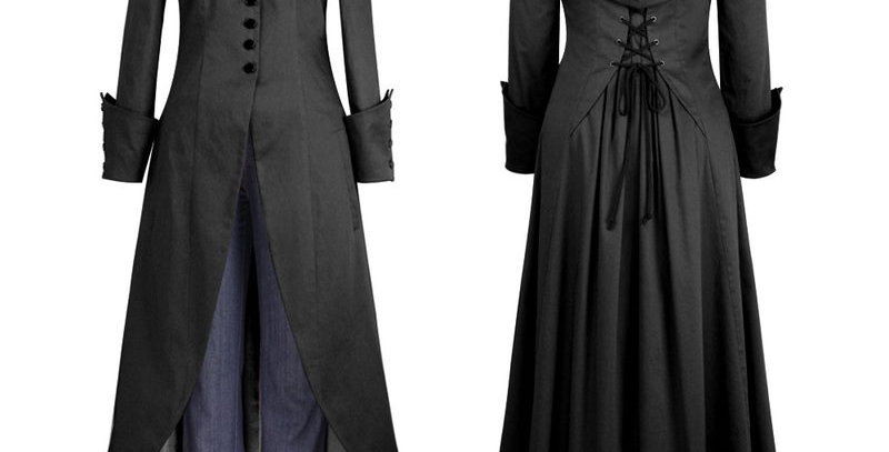 Victorian  Vintage Style Asymmetrical Lace Zip Tailcoat
