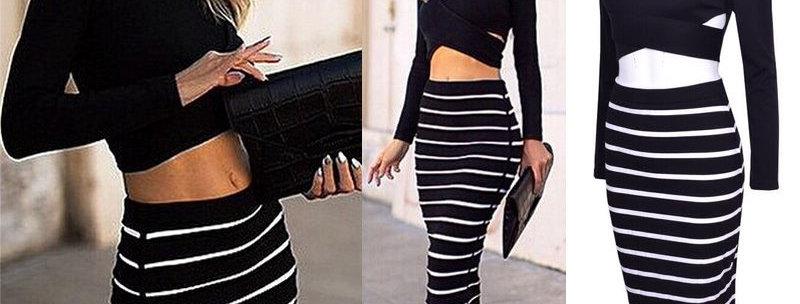 Black Bandage Short Top + Stripe Bodycon Maxi Skirt