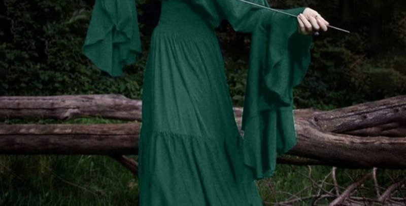 Green Bohemia Off Shoulder Bell Sleeves
