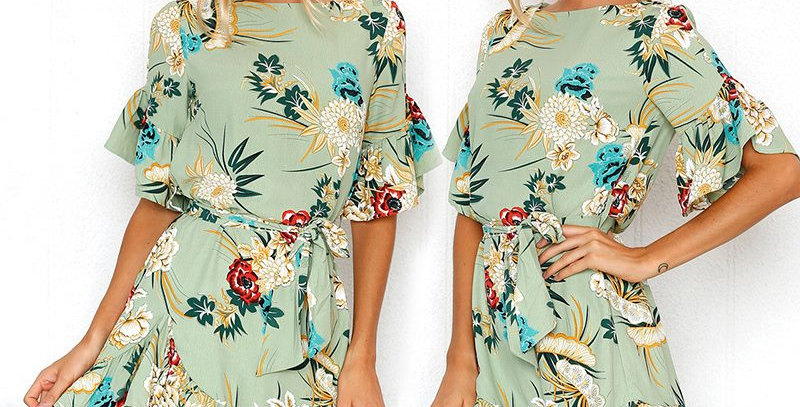 Green Blossom Floral Short Sleeve Ruffle Tie Waist Boutique Party Dress