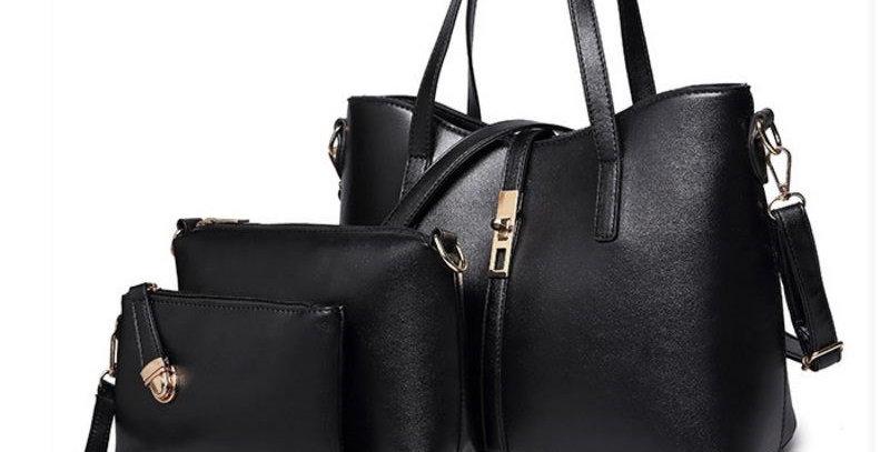 Black Handbag Tote Bag + Medium Shoulder Bag + Clutch Wallet COMBO