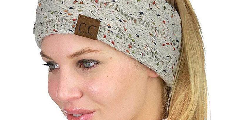Multi Color beige Knit Headband Head Wrap