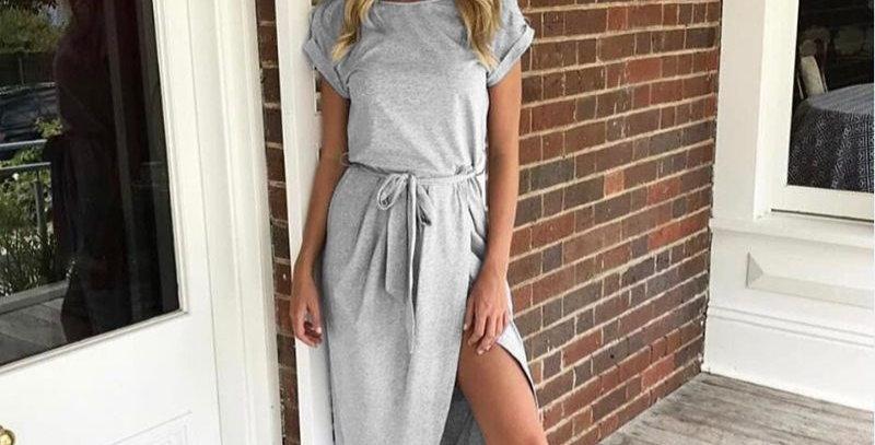 Grey Short Sleeve Jersey Cotton Dress
