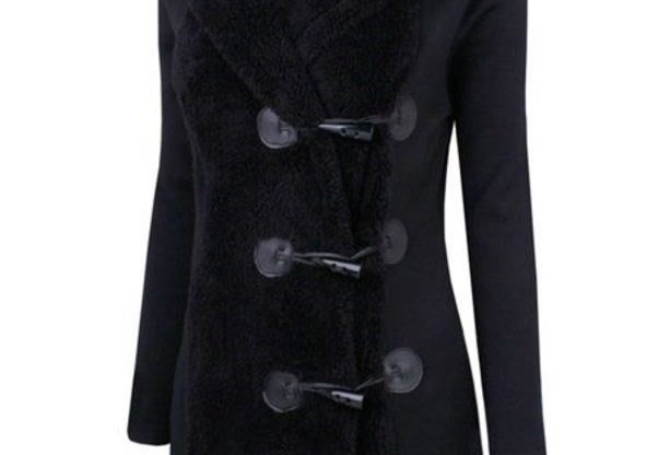 Black Faux Fur Duffle Knit Jacket