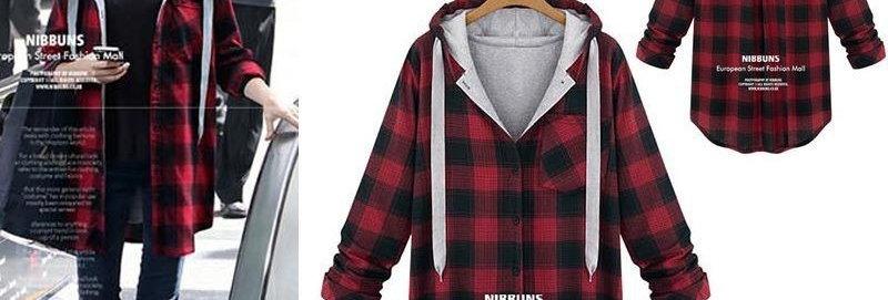 Fashion Red Plaid Hoodie - Casual Shirt