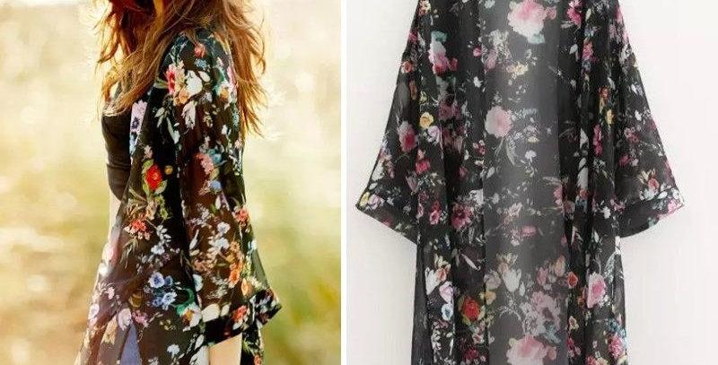 Black Blossom Open Kimono
