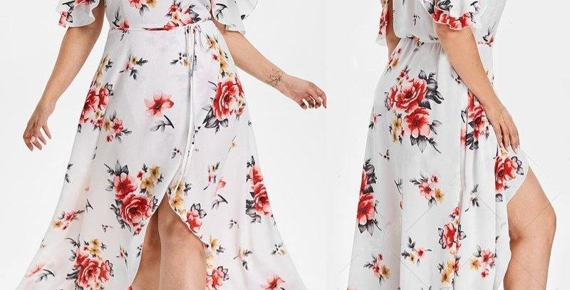 White Floral Sleeveless Ruffle Maxi  Dress