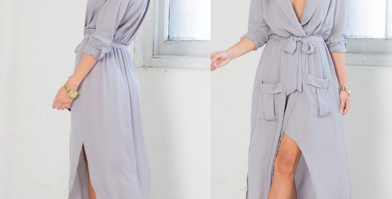 Grey Long Dress w Cropped Sleeves or light open jacket