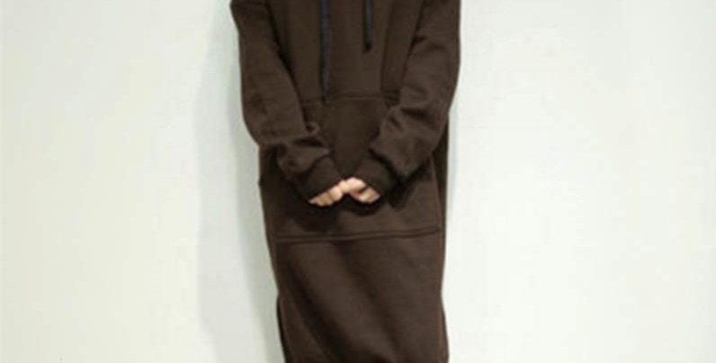 Brown Oversized Fleece Long Hoodie Sweatshirt