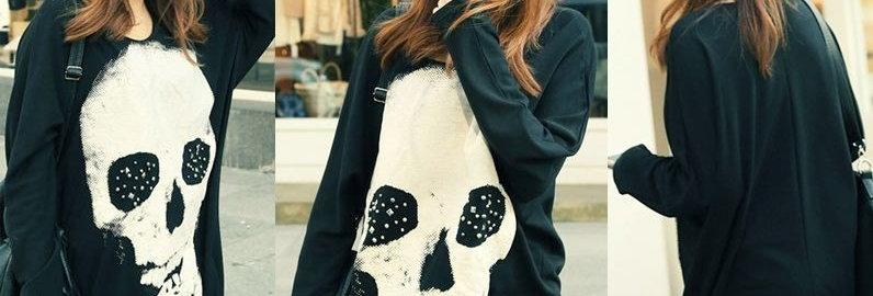 Street Style Black Skull Batwing Slouchy Kimono ( Light Material)
