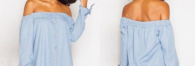 Blue Denim Off Shoulder Tie Sleeves Casual Top