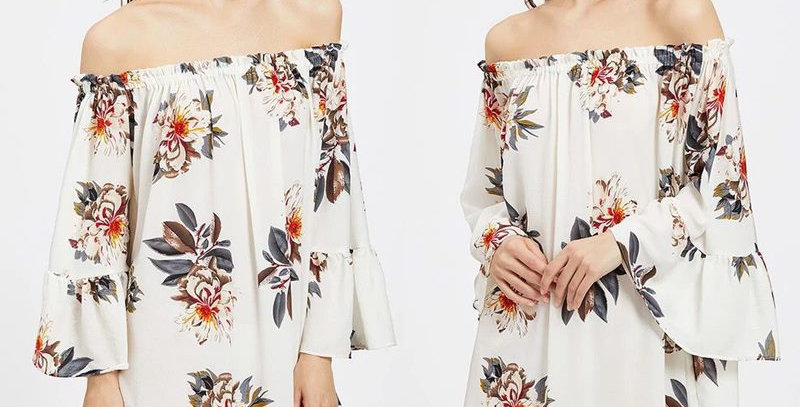 Blossom Floral Off Shoulder Ruffle Bell Sleeve Dress
