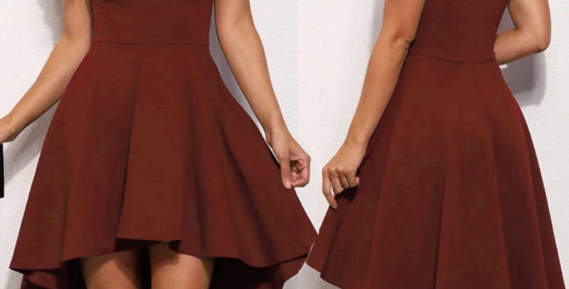 Red Off Shoulder Asymmetrical Hem Boutique Party Dress