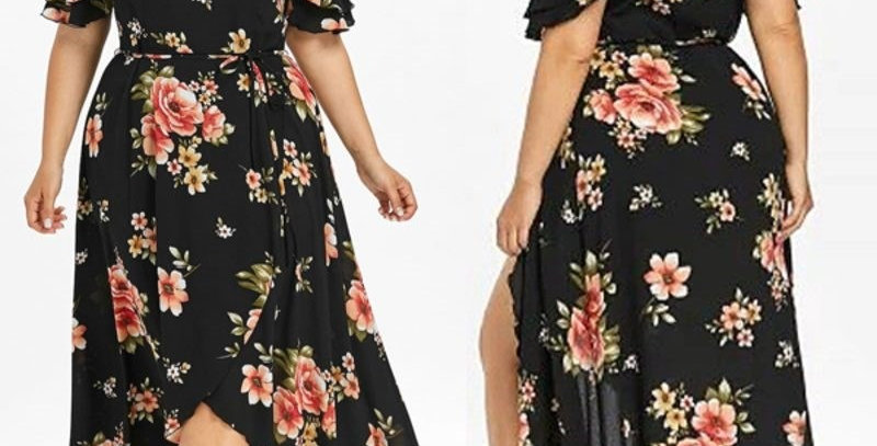 Black Floral Sleeveless Ruffle Maxi  Dress