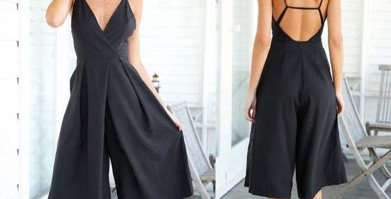 Black Open Back Wide Leg Jumpsuit