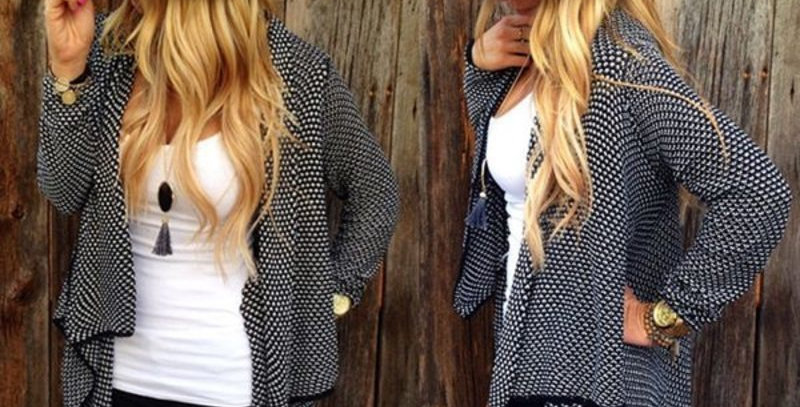 Black & Grey Knitted Open Cardigan