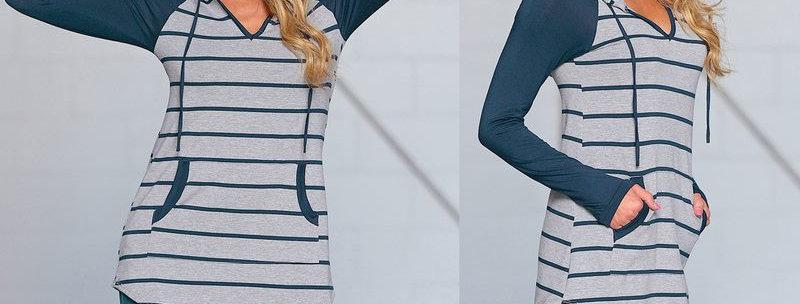 Blue & Grey 2 Tone Stripe Casual Hoodie