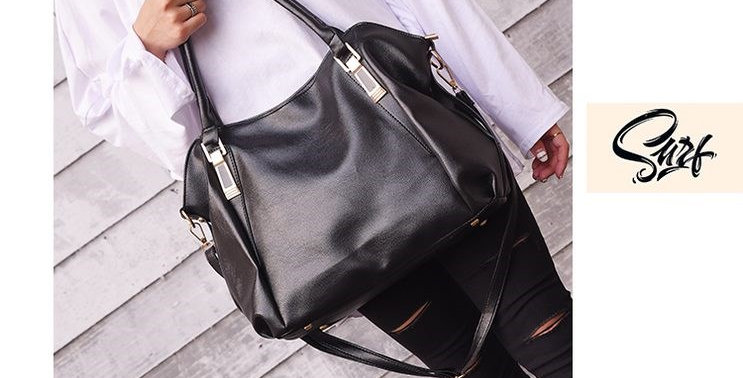 Black Functional PU Leather Tote Bag