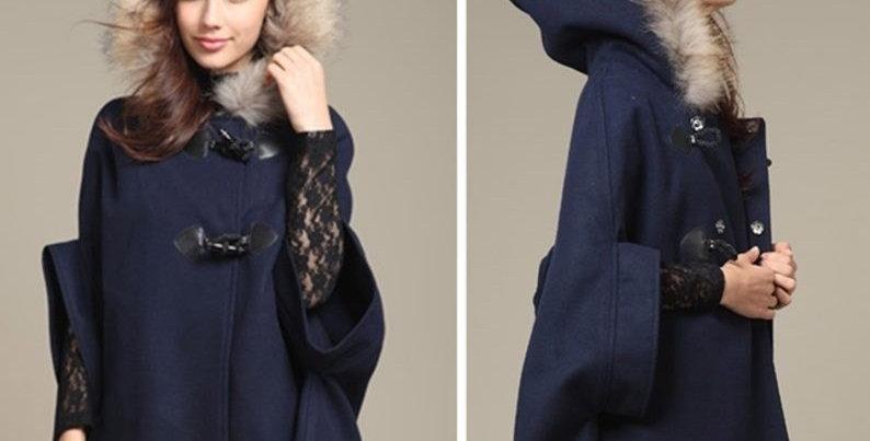 Blue Faux Fur Armhole Bow Back Hoodie