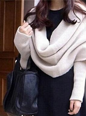 Cream Knitted Wrap around Scarf