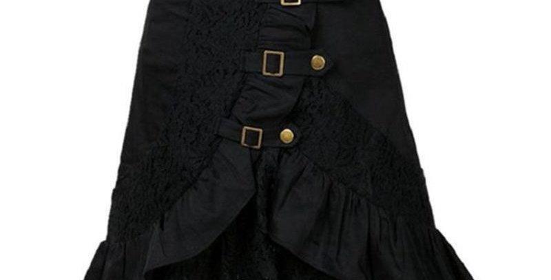Vintage Steampunk Lace Ruffle High Waist Skirt