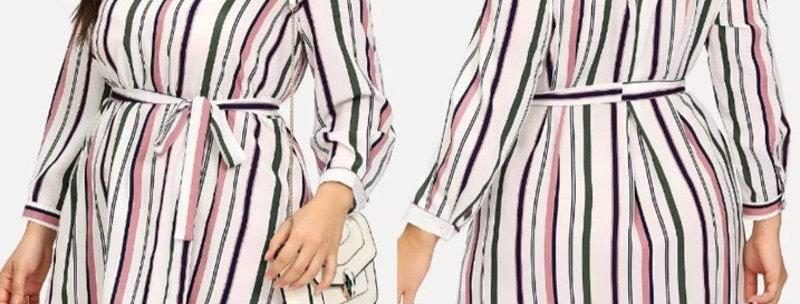 Stripe V Neck Tie Waist Asymmetrical Chiffon Shirt Dress