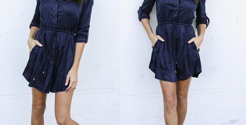 Navy Blue Satin Tie Waist Casual Long Shirt Dress