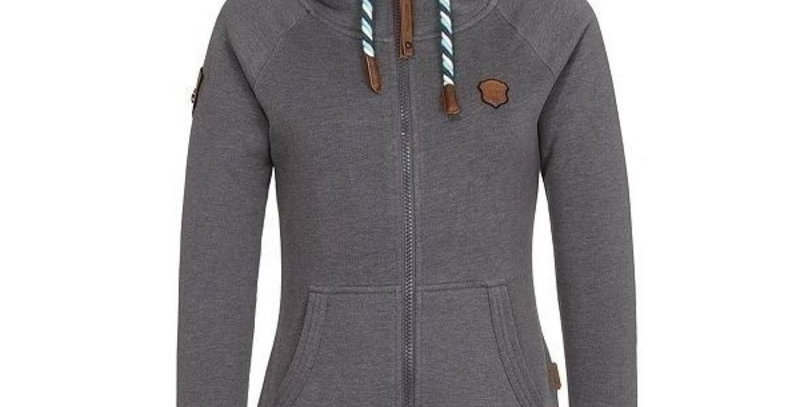 Grey Zip Up Fleece Casual Hoodie