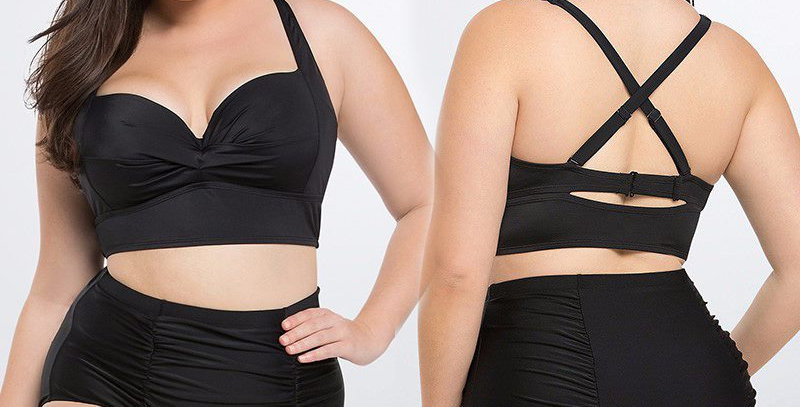 Black Bustier Top + High Waist Bottom Bikini Set