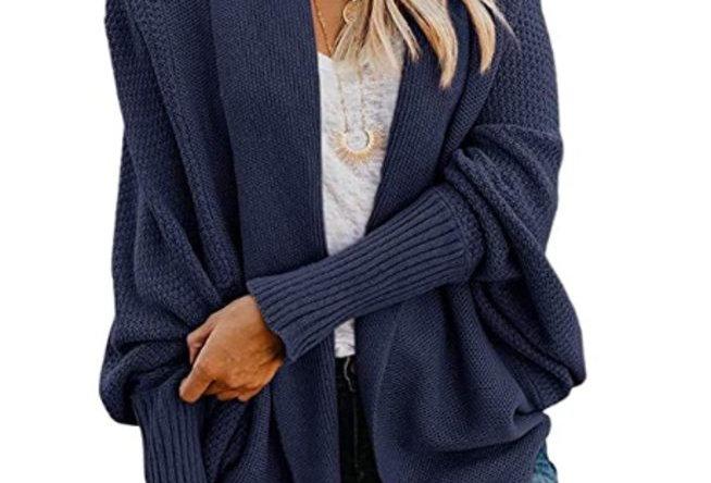 Dark Blue Kimono Open Front Sweaters