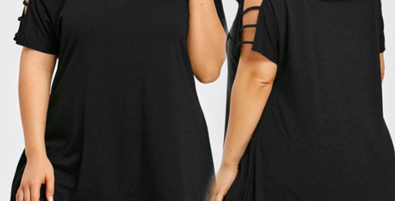 Black Hollow Out Off Shoulder Dress Shirt