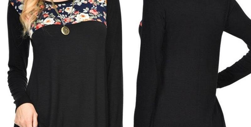Romantic Black Blossom Floral Top