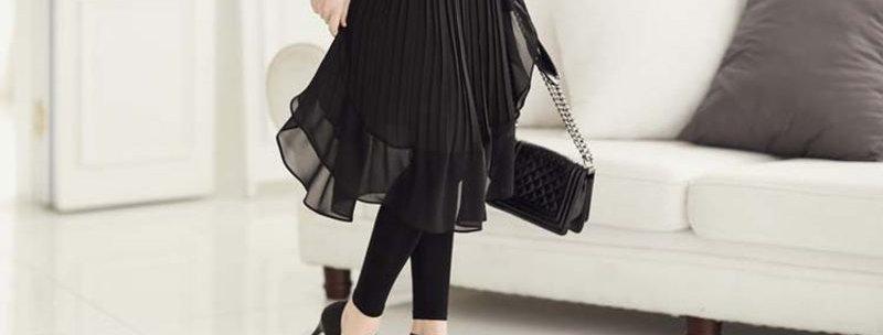 Black Folded Pleated Skirt Skinny Leggings Attached
