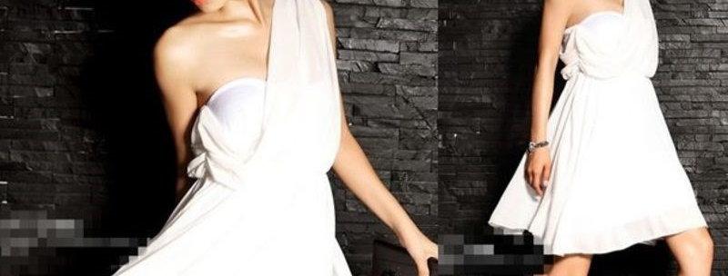 Romantic White One Shoulder Mini Dress